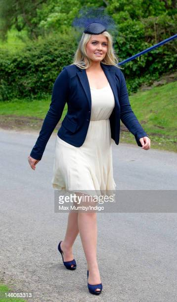 Lady Kitty Spencer attends the wedding of Emily McCorquodale and James Hutt at The Church of St Andrew and St Mary Stoke Rochford on June 9 2012 in...
