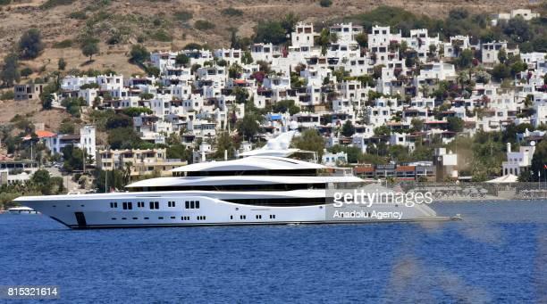 'Lady Lara' a luxury yacht belonging to the Russian businessman Alexander Mashkevitch is anchored of Yalikavak Kudur neighborhood in the Bodrum...