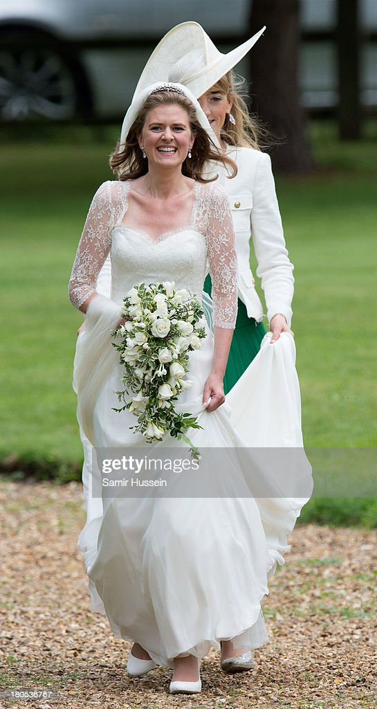 Lady Laura Marsham arrives for her wedding to James Meade at the parish church of St Nicholas in Gayton on September 14, 2013 in King's Lynn, England.