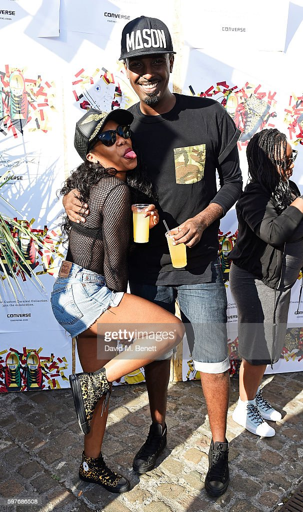 Lady Leshurr and a guest attend the Converse party at Notting Hill Carnival to celebrate the new carnival inspired Converse Custom Chuck Taylor All...