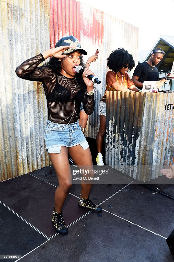 Lady Leshurr performs during the Converse party at Notting Hill Carnival to celebrate the new carnival inspired Converse Custom Chuck Taylor All...