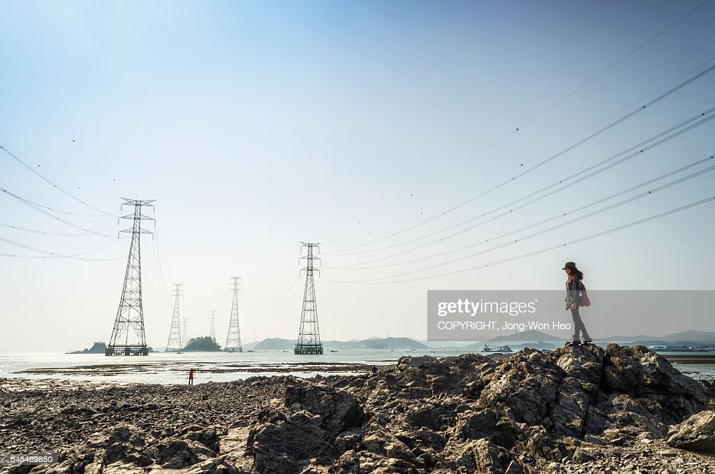 A lady looking at the sea with electricity pylons