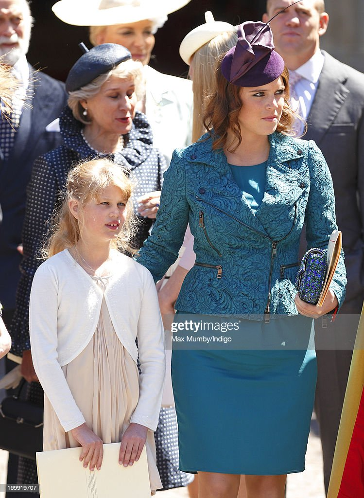 Lady Louise Windsor and Princess Eugenie of York attend a service of celebration to mark the 60th anniversary of the Coronation of Queen Elizabeth II at Westminster Abbey on June 4, 2013 in London, England. The Queen's Coronation took place on June 2, 1953 after a period of mourning for her father King George VI, following her ascension to the throne on February 6, 1952. The event 60 years ago was the first time a coronation was televised for the public.