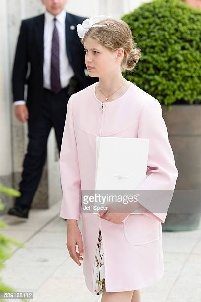 Lady Louise Windsor attends a lunch after the National Service of Thanksgiving as part of the 90th birthday celebrations for The Queen at The...