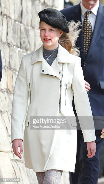 Lady Louise Windsor attends the traditional Easter Sunday church service at St George's Chapel Windsor Castle on March 27 2016 in Windsor England