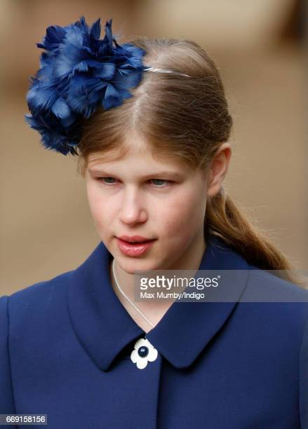Lady Louise Windsor attends the traditional Easter Sunday church service at St George's Chapel Windsor Castle on April 16 2017 in Windsor England