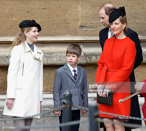Lady Louise Windsor James Viscount Severn Sophie Countess of Wessex and Prince Edward Earl of Wessex attend the traditional Easter Sunday church...