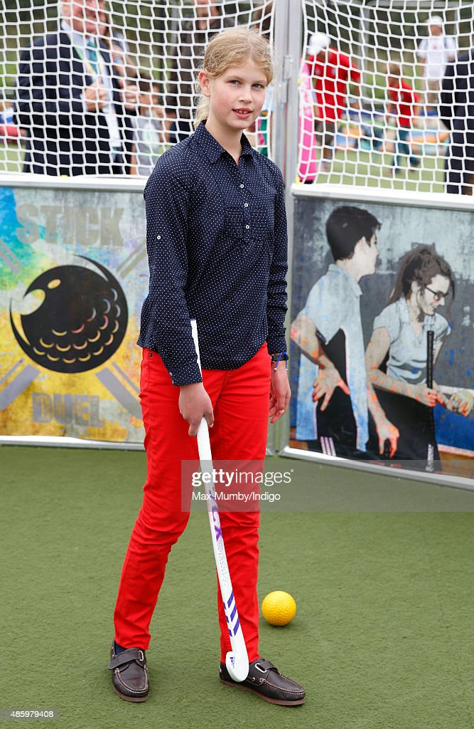 Lady Louise Windsor tries her hand at hockey as she attends the Unibet EuroHockey Championships at the Lee Valley Hockey and Tennis Centre on August...