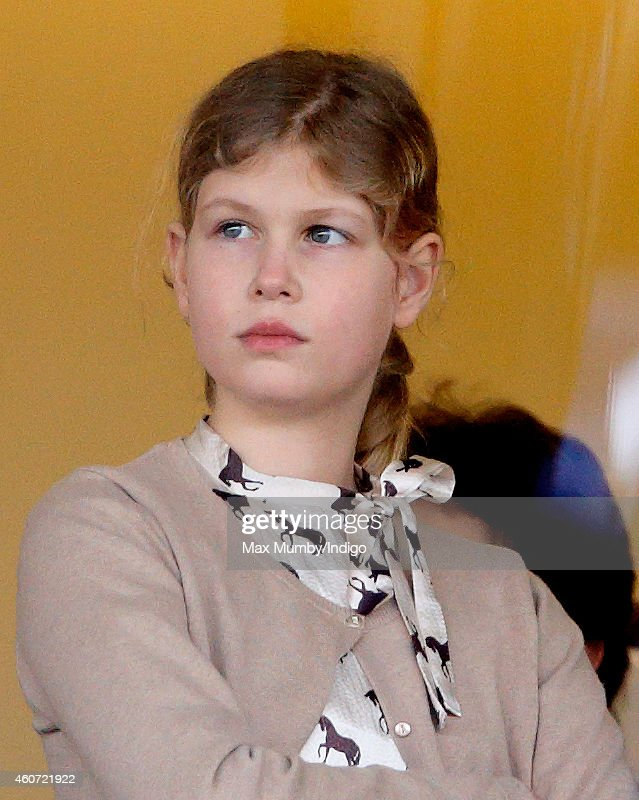 Lady Louise Windsor watches the racing as she attends the Christmas Meeting at Ascot Racecourse on December 20 2014 in Ascot England