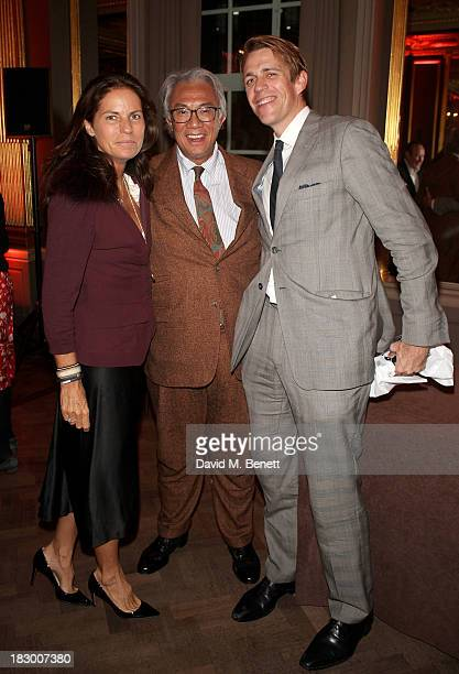 Lady Lucy Tang Sir David Tang and Ben Elliot attend the launch of Geordie Greig's new book 'Breakfast With Lucian' on October 3 2013 in London England