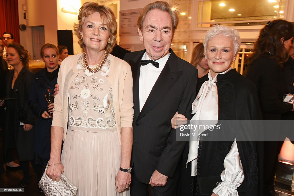 Lady Madeleine Lloyd Webber, Lord Andrew Lloyd Webber and Glenn Close attend a cocktail reception at The 62nd London Evening Standard Theatre Awards, recognising excellence from across the world of theatre and beyond, at The Old Vic Theatre on November 13, 2016 in London, England.