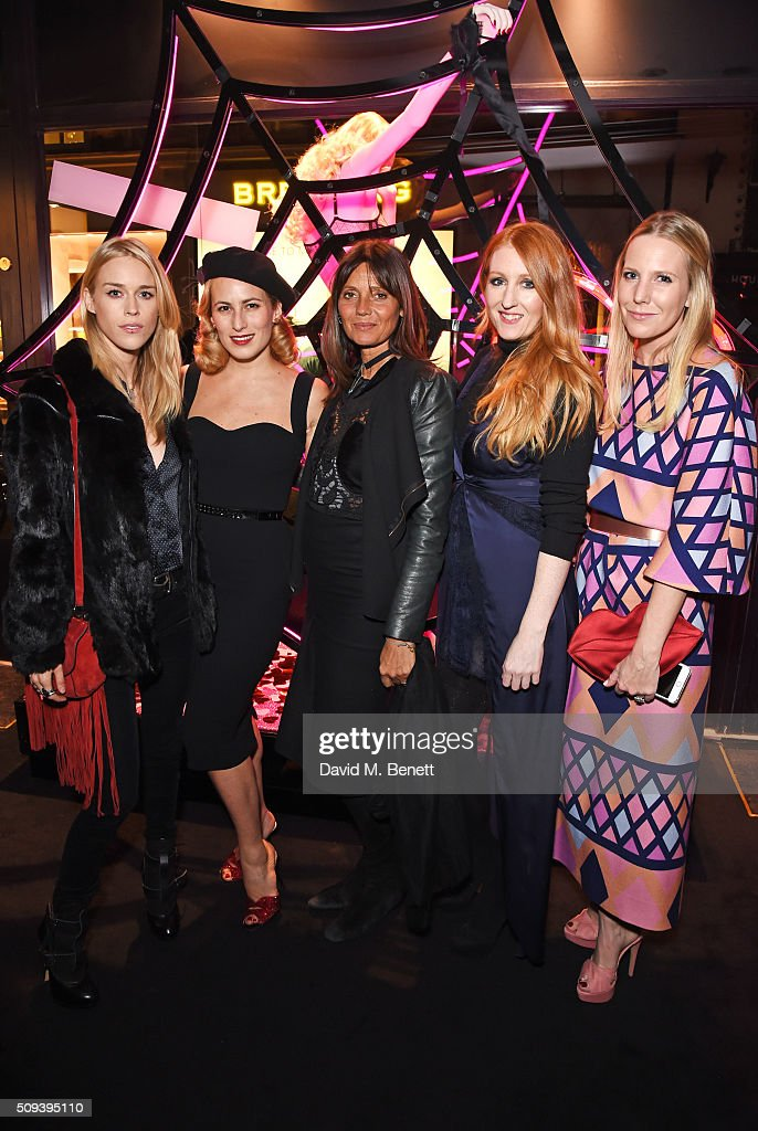 Lady <a gi-track='captionPersonalityLinkClicked' href=/galleries/search?phrase=Mary+Charteris&family=editorial&specificpeople=4361110 ng-click='$event.stopPropagation()'>Mary Charteris</a>, <a gi-track='captionPersonalityLinkClicked' href=/galleries/search?phrase=Charlotte+Dellal&family=editorial&specificpeople=2242560 ng-click='$event.stopPropagation()'>Charlotte Dellal</a>, Debonaire Von Bismarck, Agent Provocateur Creative Director Sarah Shotton and Alice Naylor-Leyland attend an intimate cocktail event hosted at Agent Provocateur Grosvenor Street boutique to celebrate the launch of the Agent Provocateur and Charlotte Olympia capsule collection on February 10, 2016 in London, England.