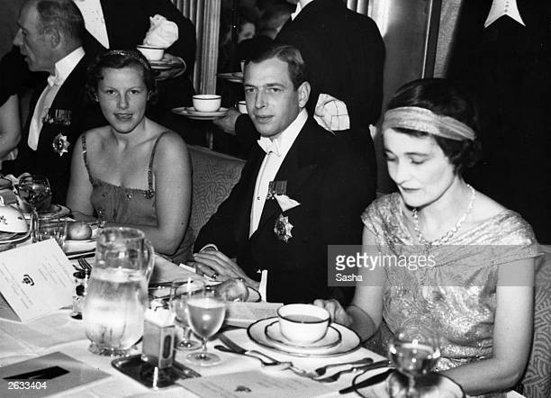 Lady Mary Dunn George Edward Alexander Edmund the Duke of Kent and the Duchess of Rutland at a dinner held at Claridges Hotel in aid of the Clarke...
