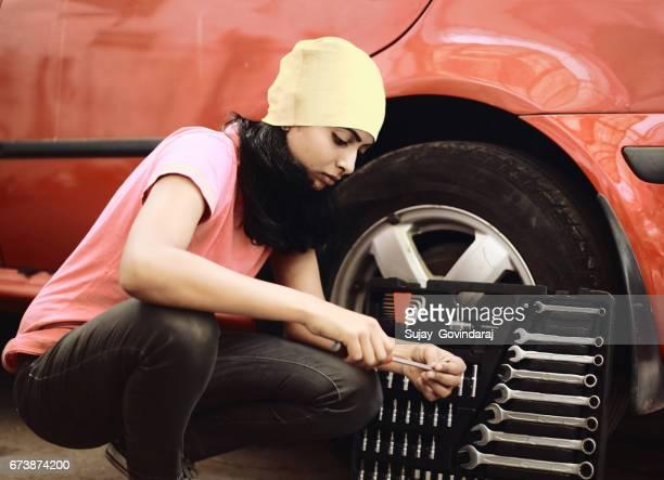 Lady Mechanic Picking Work Tool