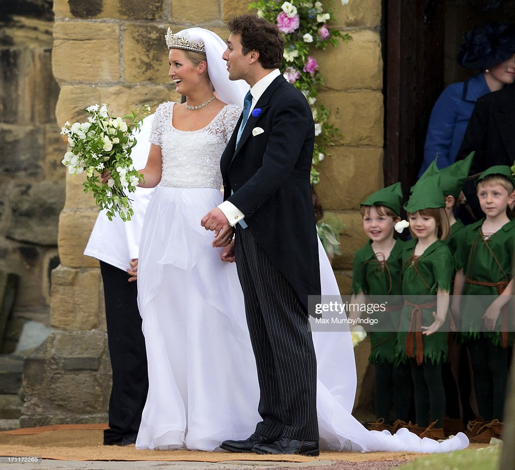 Lady Melissa Percy and Thomas Van Straubenzee leave St Michael's Church after their wedding on June 22, 2013 in Alnwick, England.