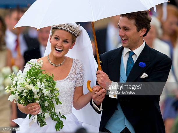 Lady Melissa Percy and Thomas Van Straubenzee leave St Michael's Church after their wedding on June 22 2013 in Alnwick England