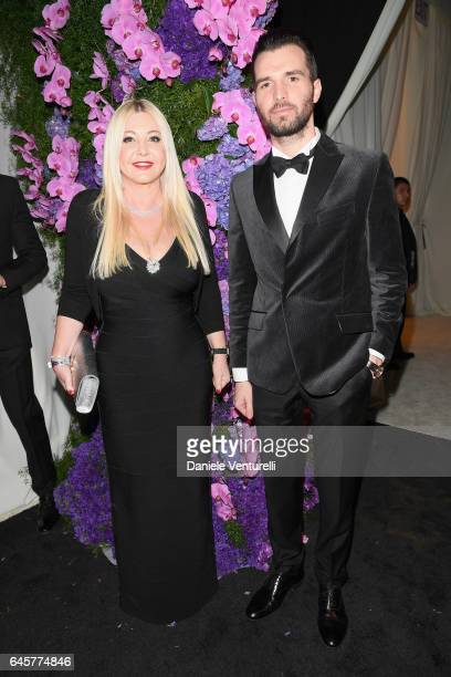 Lady Monika Bacardi and Andrea Iervolino attend Bulgari at the 25th Annual Elton John AIDS Foundation's Academy Awards Viewing Party at on February...