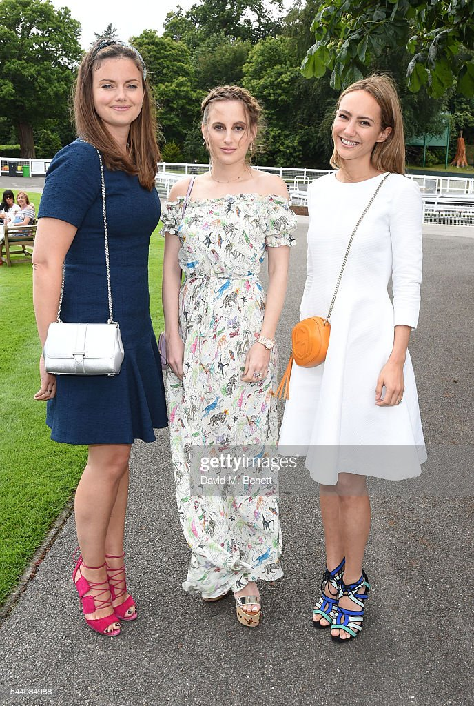 LAdy Natasha Rufus Isaacs, Rosie Fortescue and Lavinia Brennan attend the Sandown Park Racecourse Ladies' Day STYLE AWARD Hosted by Rosie Fortescue at Sandown Park on July 1, 2016 in Esher, England.