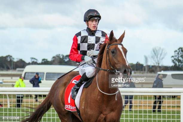 Lady of Flanders ridden by Ben Allen returns after winning the Ladbrokes Odds Boost Multi 2YO Fillies Maiden Plate at Sale Racecourse on July 20 2017...