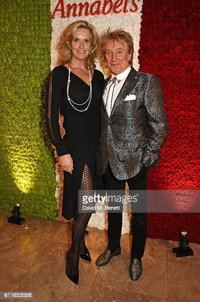 Lady Penny Lancaster and Sir Rod Stewart attend a VIP preview of the new site for Annabel's 46 Berkeley Square on September 30 2016 in London England