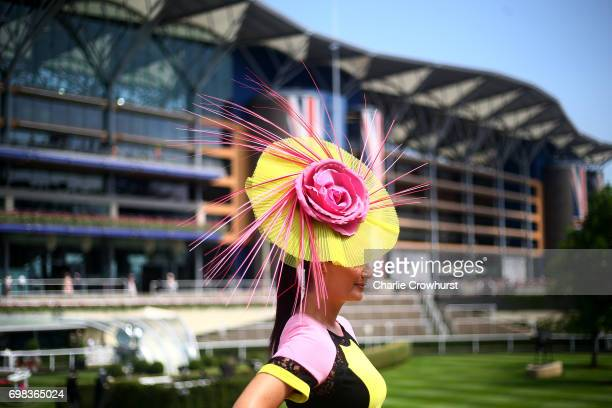 A lady poses for a photo on day 1 of Royal Ascot at Ascot Racecourse on June 20 2017 in Ascot England