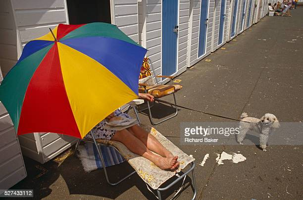 A lady protects herself from a midday summer summer sun with a brightly coloured parasol brolley Oblivious to the viewer she balances her lunch snack...