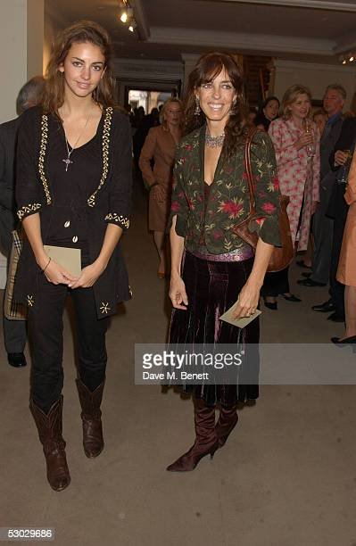 Lady Rose Hanbury and Emma Hanbury attend the annual summer party at Sotheby's New Bond Street on June 6 2005 in London England