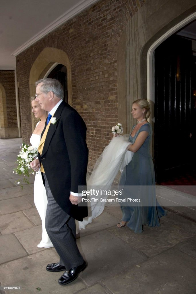 Lady Rose Windsor, her father the Duke of Gloucester and her sister Lady Davina Lewis (Windsor) attend her wedding to George Gilman at the Queen's Chapel near St James's Palace on July 19, 2008 in London, England.