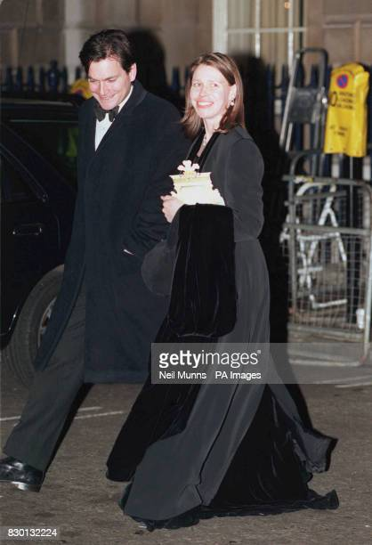 Lady Sarah Chatto and husband Daniel leave a 50th birthday party in honour of the Prince of Wales in St James's Central London 6/2/99 Lady Sarah...