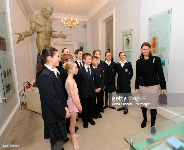 Lady Sarah Chatto by a statue of Rudolf Nureyev in her role as Vice President of the the Royal Ballet School after opening the new White Lodge Museum...
