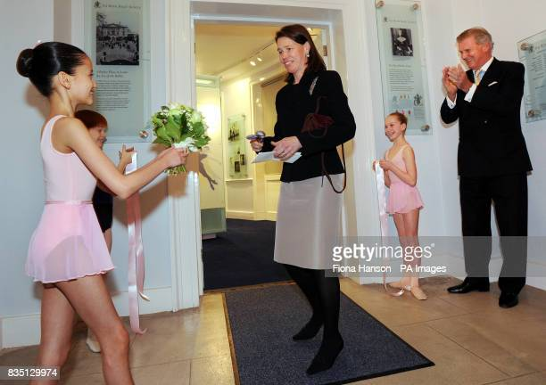 Lady Sarah Chatto in her role as Vice President of the Royal Ballet School surrounded by three year one pupils from left Magdalena Chan who presented...
