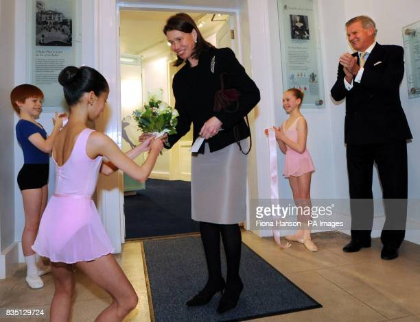 Lady Sarah Chatto Vice President of the Royal Ballet School meet three year one pupils from left Magdalena Chan who presented a posy Thomas Bedford...