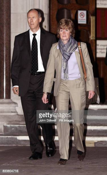 Lady Sarah McCorquodale the sister of Diana Princess of Wales leaves the High Court in central London with Major Jamie LowtherPinkerton on behalf of...