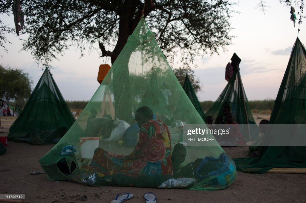 A lady sits under a mosquito net near the White Nile at a site used by internally displaced persons in Minkamen in Awerial county, South Sudan on January 11, 2014. According to the latest figures from the United Nations, some 75,000 people have settled in Minkamen following clashes in nearby Bor, 40km away, between the South Sudanese army and rebels led by Riek Machar. Shelling could be heard today. AFP PHOTO/PHIL MOORE