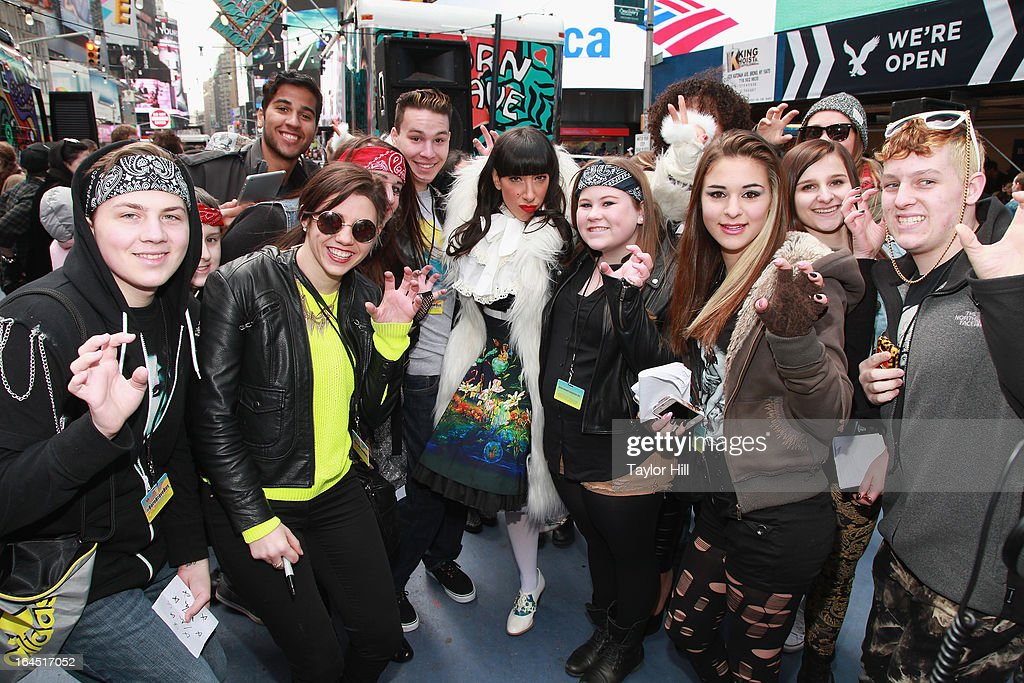 <a gi-track='captionPersonalityLinkClicked' href=/galleries/search?phrase=Lady+Starlight&family=editorial&specificpeople=5791142 ng-click='$event.stopPropagation()'>Lady Starlight</a> attends Lady Gaga's Born Brave Bus Tour in Times Square on March 23, 2013 in New York City.