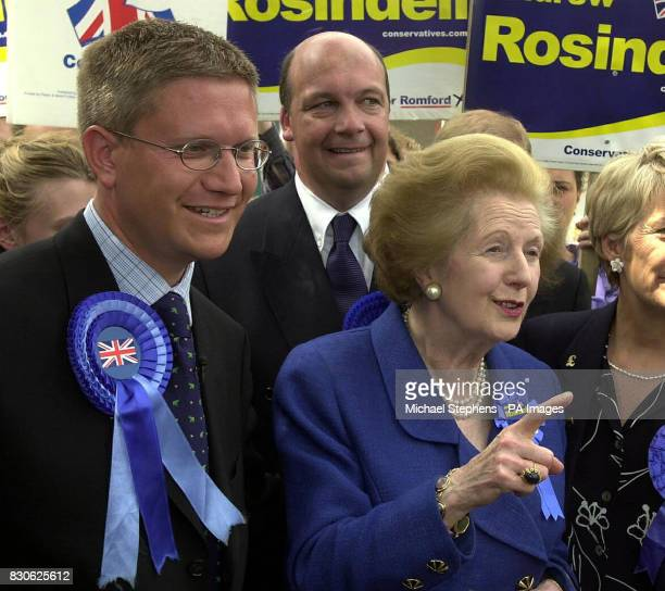 Lady Thatcher makes a point while meeting the people of Romford Essex as she tours the shopping centre with Romford Tory candidate Andrew Rosindell *...