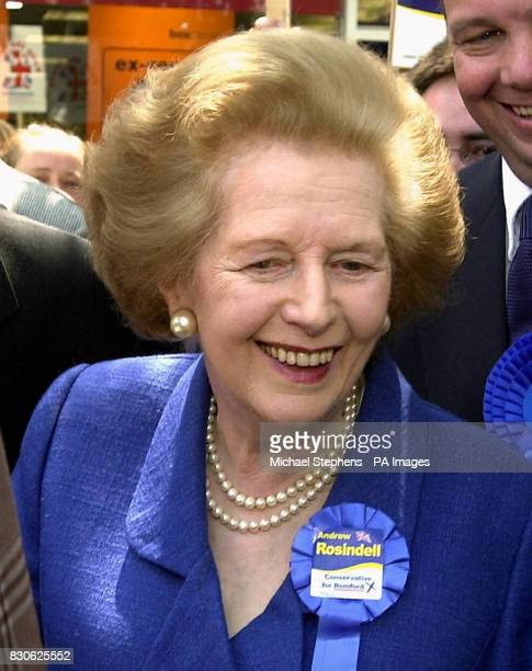 Lady Thatcher meeting the people of Romford as she tours the shopping centre with Tory candidate Andrew Rosindell The Tories earlier renewed their...