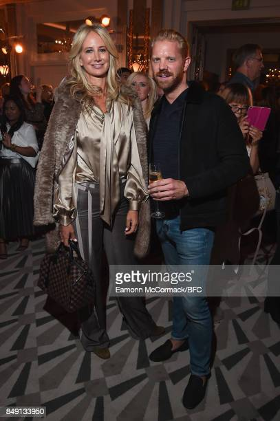 Lady Victoria Hervey and Alistair Guy attend the Aspinal of London presentation during London Fashion Week September 2017 on September 18 2017 in...