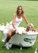 Lady Victoria Hervey and Lady Isabella Hervey during The Radox Great British Mud Run Photocall in London Great Britain