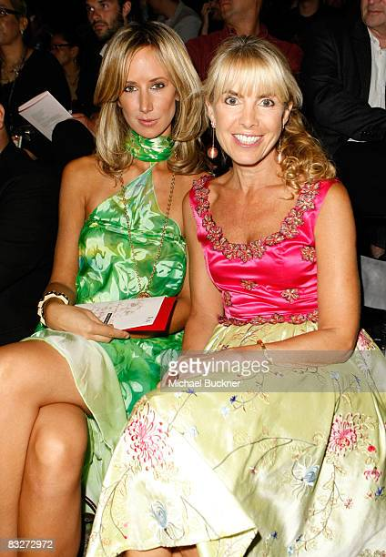 Lady Victoria Hervey and producer Julia Verdin pose in the front row at the Lana Fuchs Spring 2009 fashion show during MercedesBenz Fashion Week held...