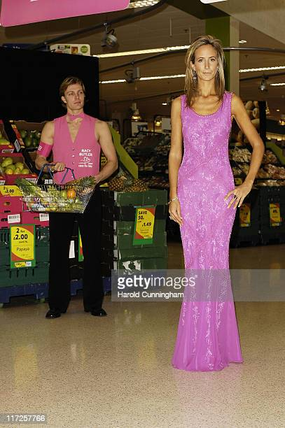Lady Victoria Hervey and Tesco's Bag Butlers during Race for Life 2007 Photocall at Tesco West Cromwell Road in London United Kingdom
