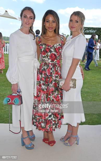 Lady Violet Manners Emma McQuiston Viscountess Weymouth and Lady Kitty Spencer attend the Cartier Queen's Cup Polo final at Guards Polo Club on June...