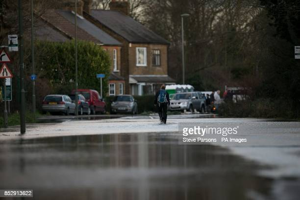 A lady walks down a flooded road in Chertsey Surrey as the ongoing rain which has flooded parts of Britain in recent weeks will be joined by freezing...