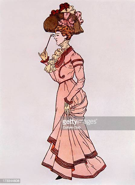 Lady wearing a 'walking costume' c1900 Skirts in this era were made to trail upon the ground and sometimes known as 'fancy foulards'
