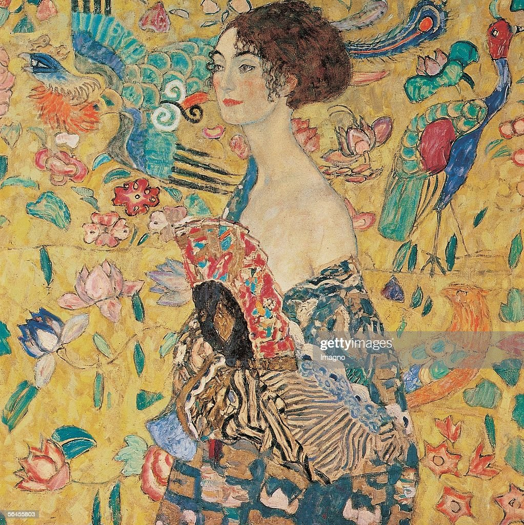Lady with fan. D203. Oil on Canvas by Gustav Klimt. 100 : 100 cm. 1917/18. (Photo by Imagno/Getty Images) [Dame mit Faecher. D203. oel/Lwd. 100 : 100 cm. 1917/18.]
