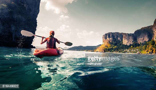Lady with kayak : Stock Photo