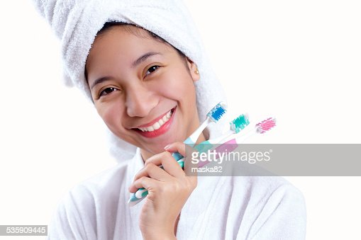 Lady With Toothbrush : Stock Photo