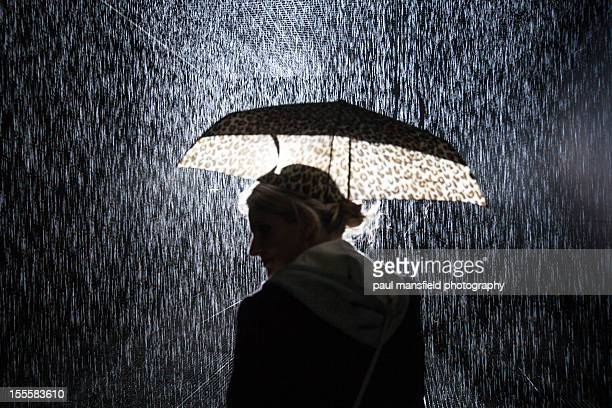 Lady with umbrella in rain