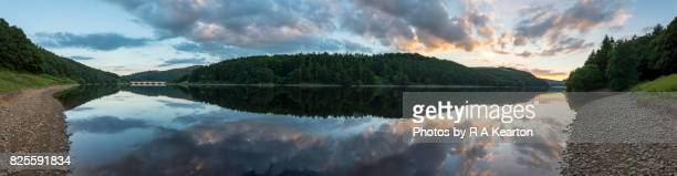 Ladybower reservoir at sunset, Peak District, Derbyshire, England