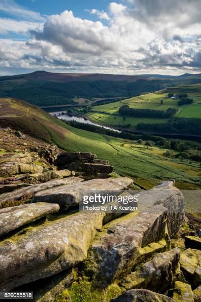 Ladybower reservoir from Whinstone Lee Tor, Peak District, Derbyshire, England